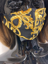 Load image into Gallery viewer, Silk face covering Black/gold version