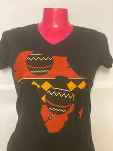 Wax print appliqué Map of Africa custom Tee