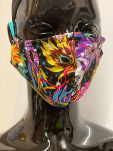 Carnival mask print face covering without lace trim