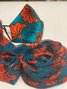 Modern Ankara print satin mask with matching chiffon scarf set