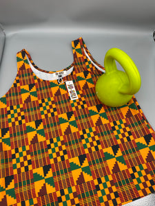 The Orange Kente print vest