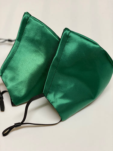 Emerald green Satin Facecovering