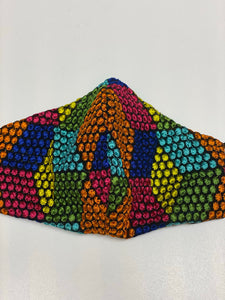 Embroidered mesh rainbow colour face covering