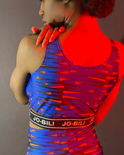 Load image into Gallery viewer, JoBili Blue Orange dash cropped top