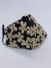 Load image into Gallery viewer, Cream black and gold lame flowers mask
