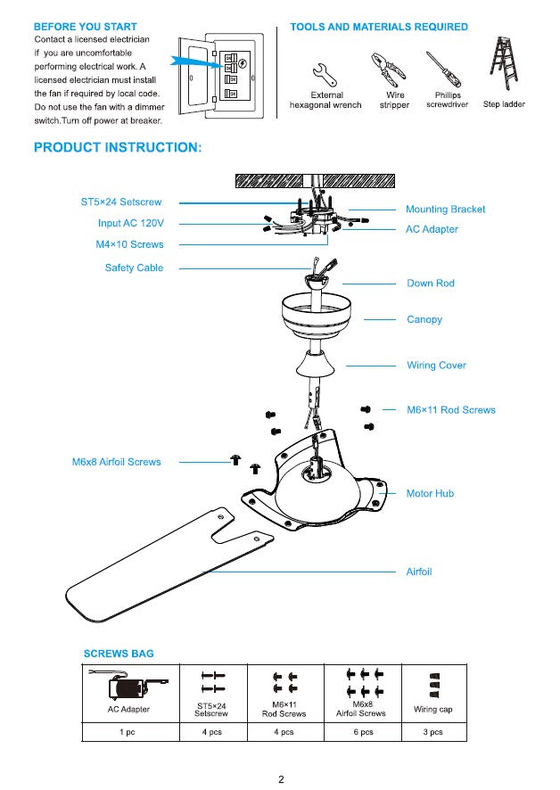Innovator Smart Ceiling Fan by Carro USA Inc. Installation Manual - Page 2