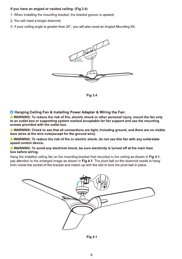 Innovator Smart Ceiling Fan by Carro USA Inc. Installation Manual - Page 6