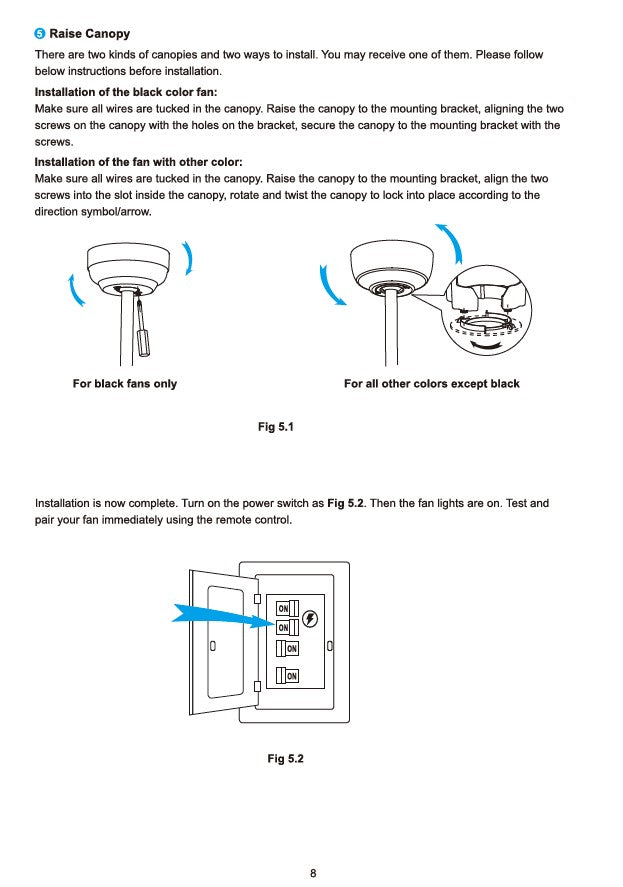 Innovator Smart Ceiling Fan by Carro USA Inc. Installation Manual - Page 8