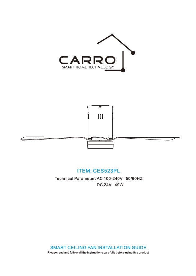 Striver Smart Ceiling Fan Installation Manual by Carro USA Inc.