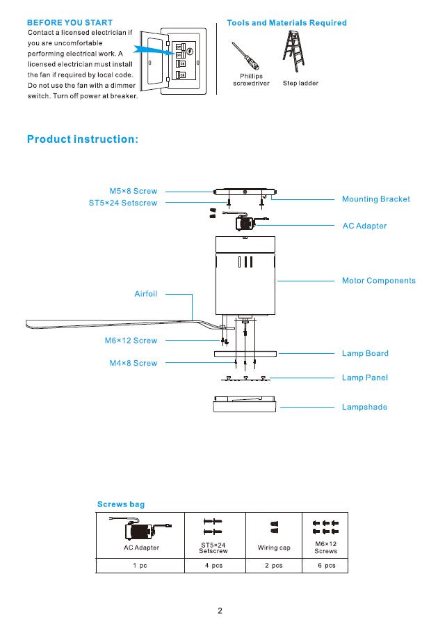 Striver Smart Ceiling Fan Installation Manual - Page 2