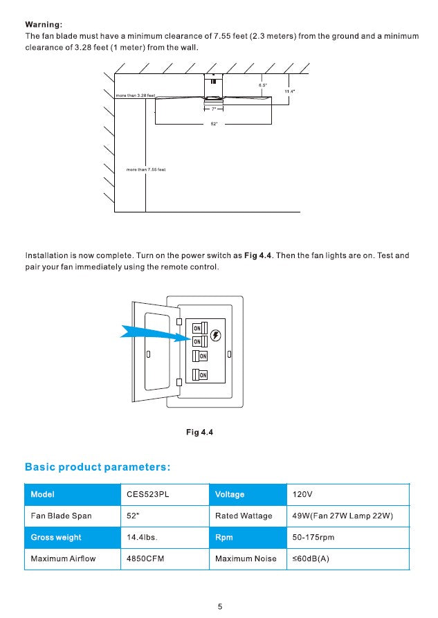 Striver Smart Ceiling Fan Installation Manual - Page 5