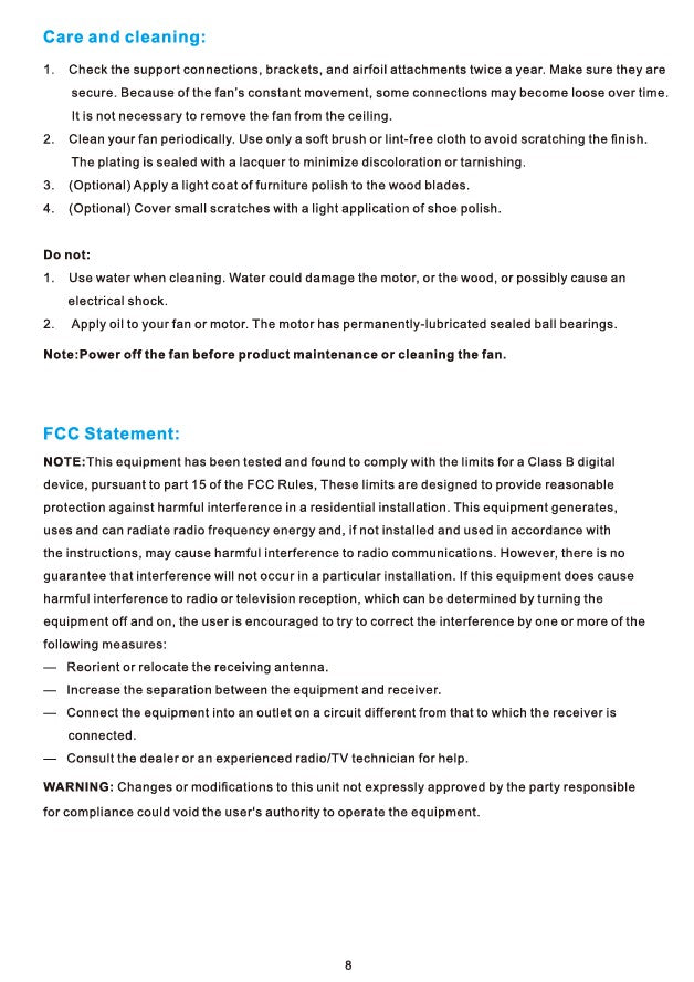 Striver Smart Ceiling Fan Installation Manual - Page 8