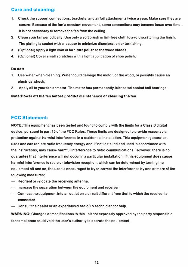 Explorer Smart Ceiling Fan Installation Manual by Carro USA Inc. - Page 12