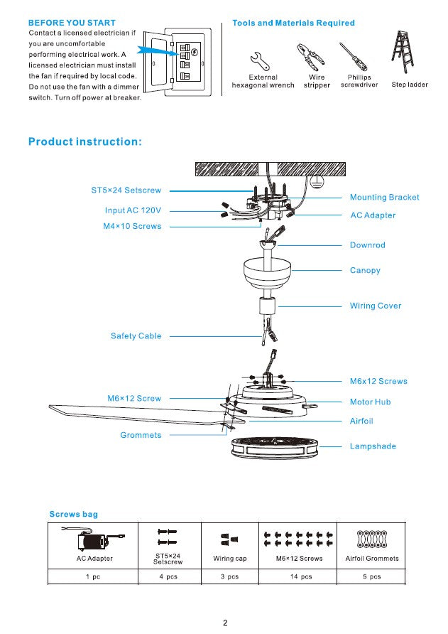 Explorer Smart Ceiling Fan Installation Manual by Carro USA Inc. - Page 2