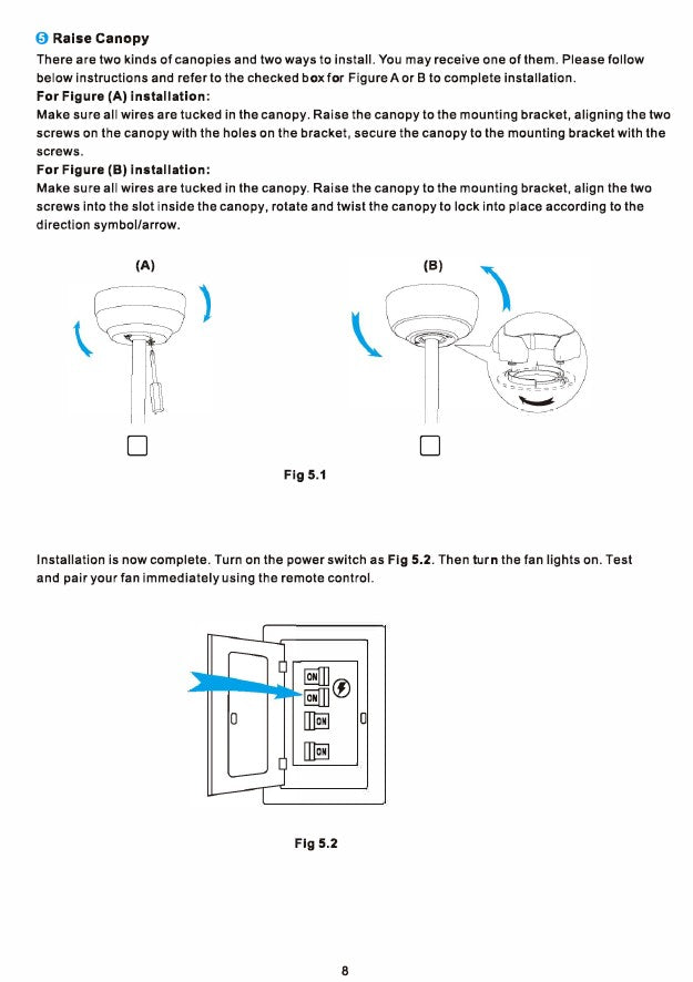 Explorer Smart Ceiling Fan Installation Manual by Carro USA Inc. - Page 8