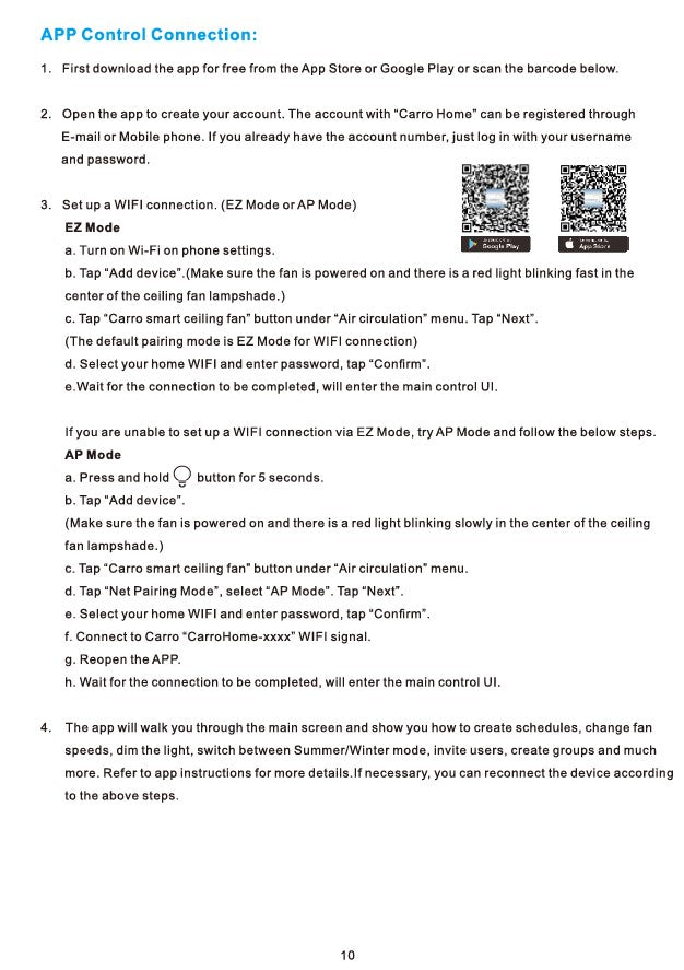 Heritage Smart Ceiling Fan by Carro USA Inc. Installation Manual - Page 10