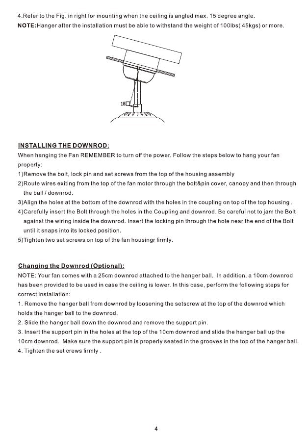 Heritage Smart Ceiling Fan by Carro USA Inc. Installation Manual - Page 4