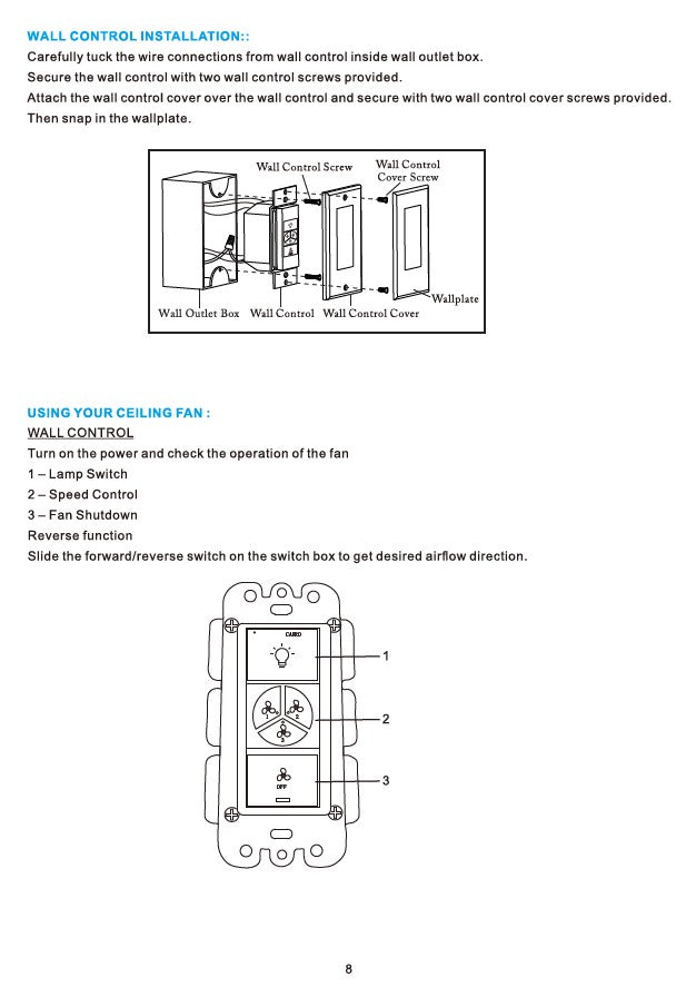 Heritage Smart Ceiling Fan by Carro USA Inc. Installation Manual - Page 8