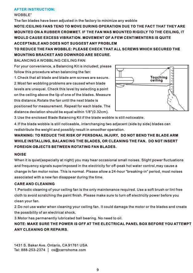 Heritage Smart Ceiling Fan by Carro USA Inc. Installation Manual - Page 9