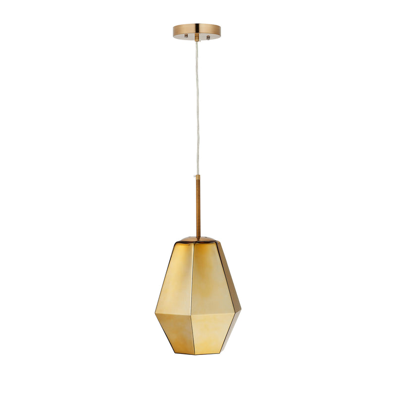Carro Home Taurus Jewel Tone Glass Pendant Light - Golden Citrine Adjustable Height