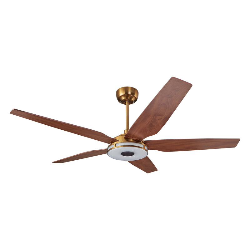 "Explorer 52"" 5-Blade Smart Ceiling Fan with LED Light Kit & Remote - Gold case with Wood Grain fan blades"