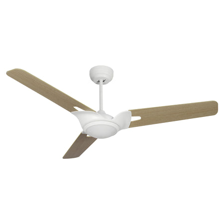 "Innovator 52"" 3-Blade Smart Ceiling Fan with LED Light Kit & Remote - White/Light Wood Pattern"