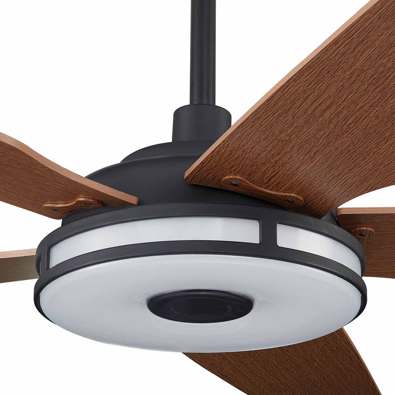 "Explorer 56"" 5-Blade Smart Ceiling Fan with LED Light Kit & Remote - Blackcase with Fine Wood Grain Pattern fan blades"