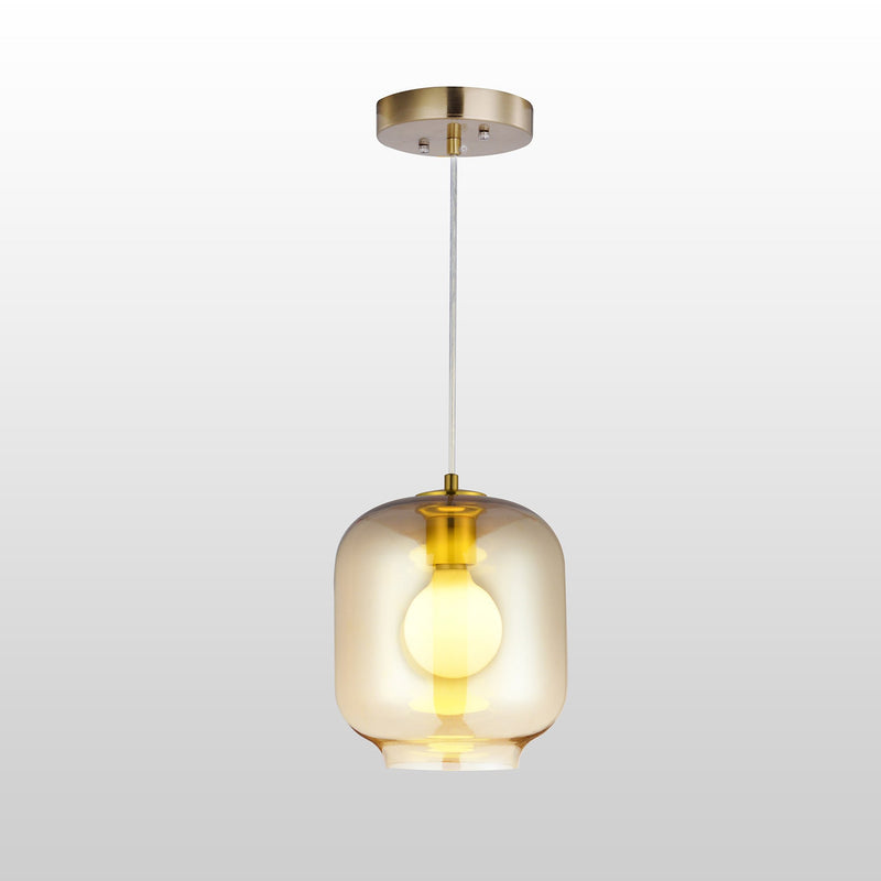 CARRO HOME Leo Brilliant Amber Glass Pendant Light