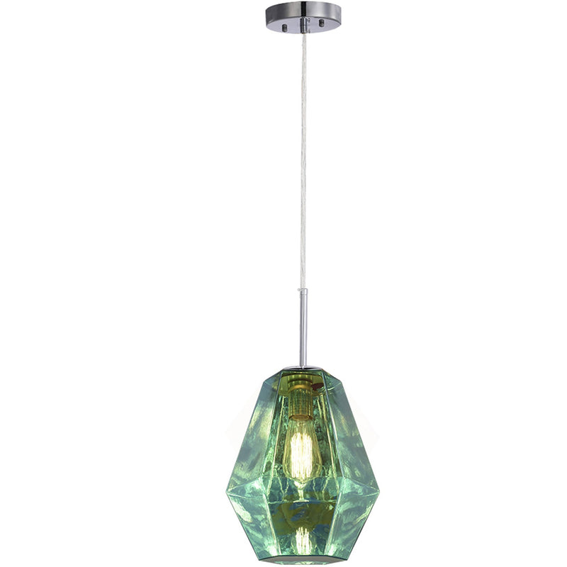 Carro Home Taurus Jewel Tone Glass Pendant Light - London Blue Topaz Adjustable Height