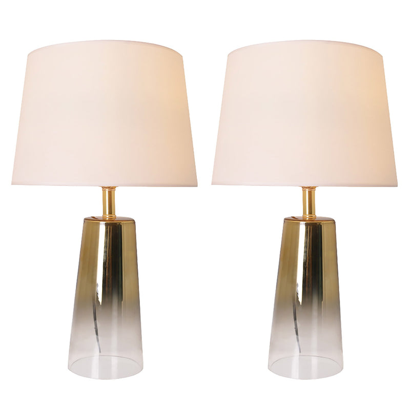 "Rosemary Ombre Glass Table Lamp 25"" - Gold Ombre/Ivory White (Set of 2)"