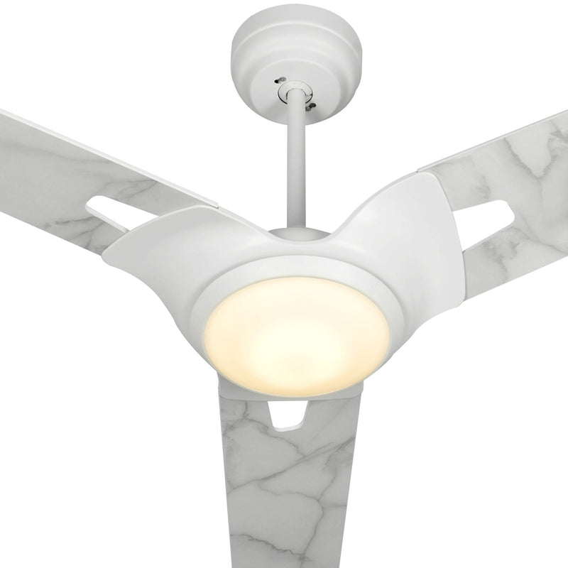 Innovator 56'' 3-Blade Smart Ceiling Fan with LED Light Kit & Remote - White case with Marble Pattern fan blades
