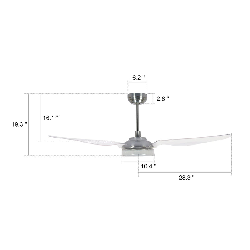 Icebreaker 56'' 3-Blade Smart Ceiling Fan with LED Light Kit & Remote - Silver/Clear (Set of 2)