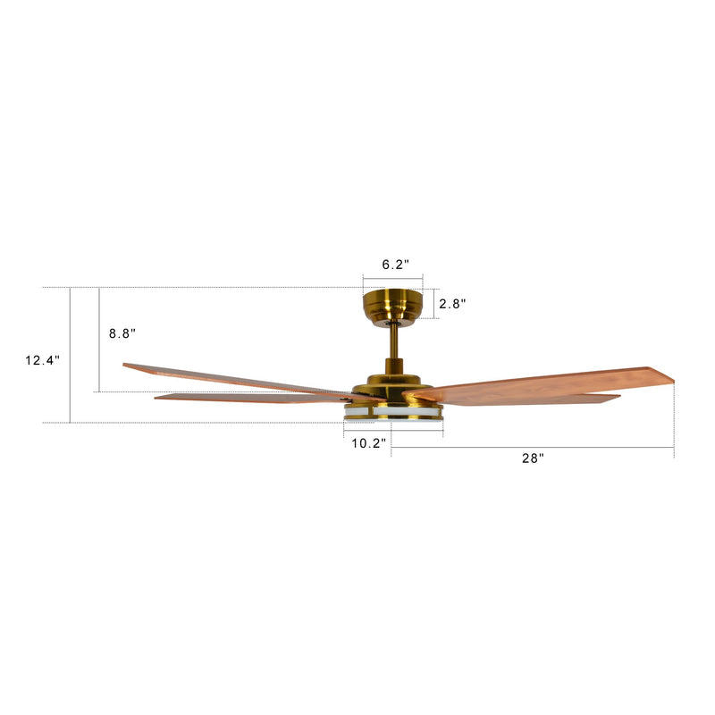 Explorer 56'' 5-Blade Smart Ceiling Fan with LED Light Kit & Remote - Gold/Wood Grain