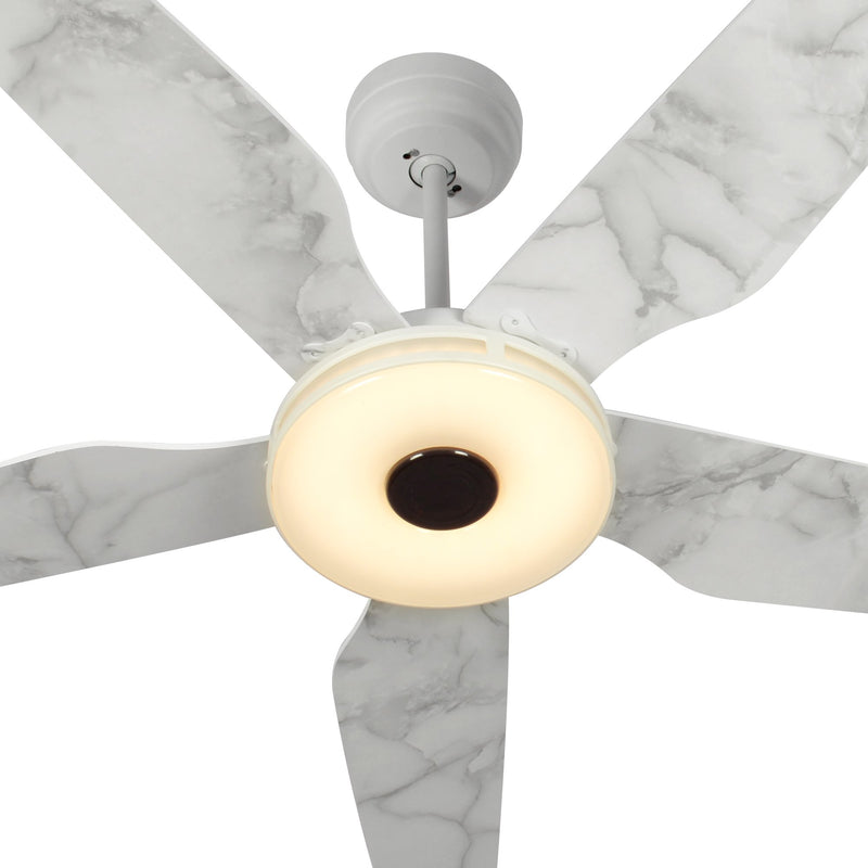 Carro Home Explorer 56'' 5-Blade Smart Ceiling Fan with LED Light Kit & Remote - White/Marble Pattern