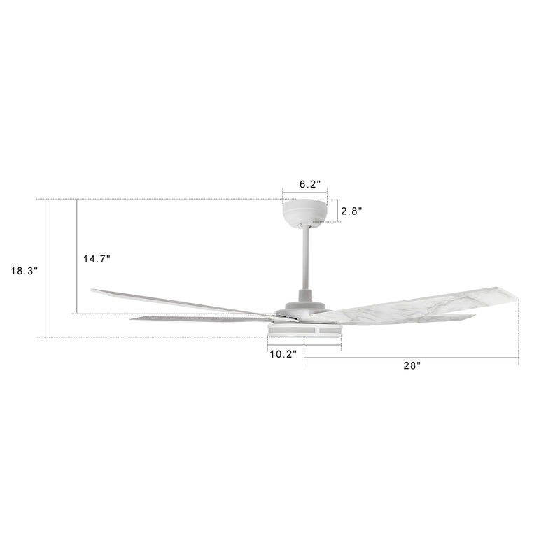 Carro  Explorer 56'' 5-Blade Smart Ceiling Fan with LED Light Kit & Remote - White/Marble Pattern