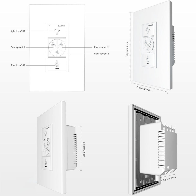 Pioneer Smart Wall Switch For Ceiling Fans(2-Gang), Works with Amazon Alexa, Google Assistant, and Siri