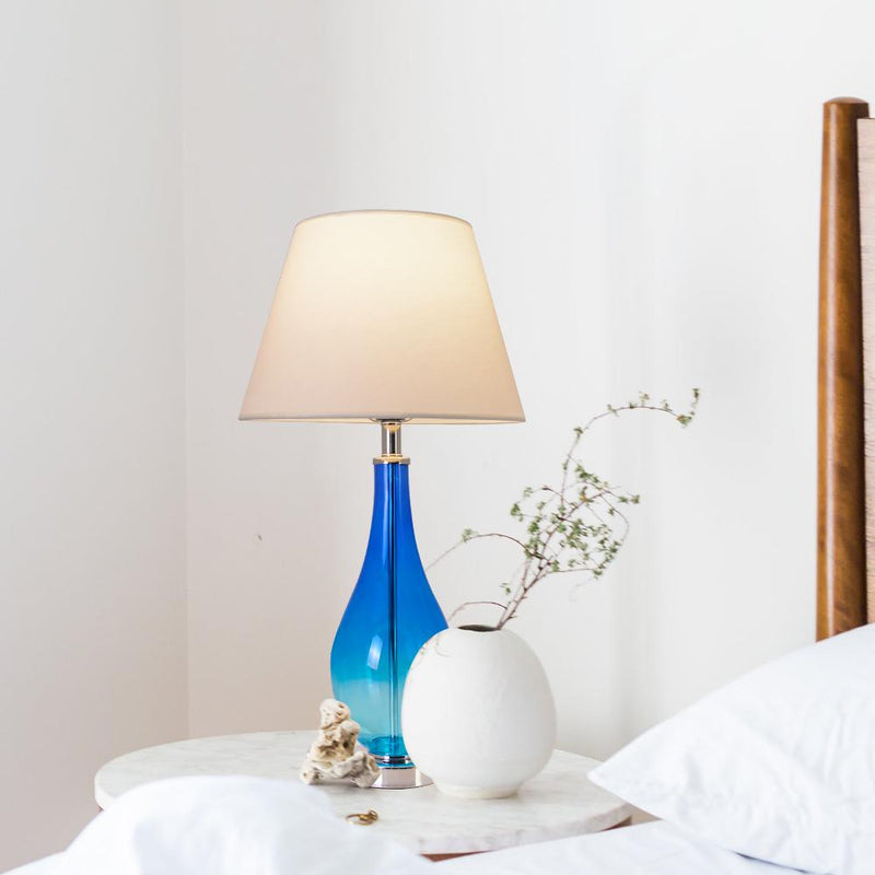 "Tulip Blue Ombre Droplet Glass Table Lamp 28"" - Blue Ombre/Creme (Set of 2)"