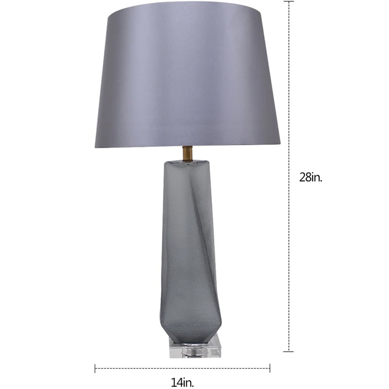 "Carro Home Calla Twist Frosted Glass Table Lamp 28"" - Smoke Gray/Light Gray Shade (Set of 2)"