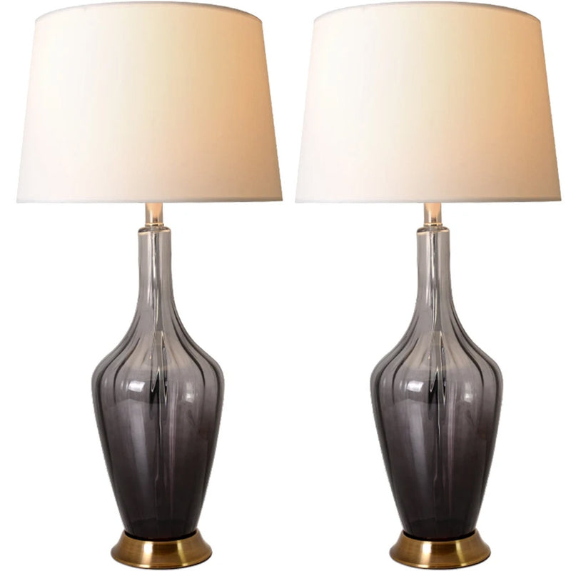 "Carro Home Carnation Translucent Glass Table Lamp 31"" - Gray Ombre/Golden Yarn Shade (Set of 2)"