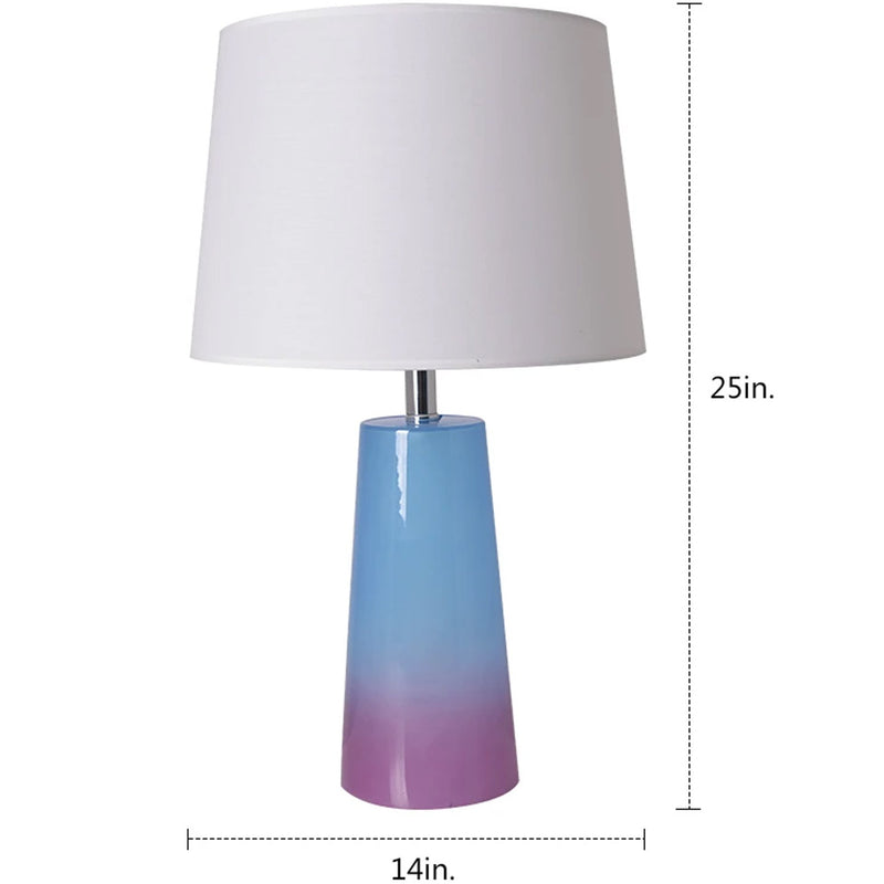 "Carro Home Rosemary Ombre Glass Table Lamp 25"" - Blue & Purple Ombre/Ivory White (Set of 2)"