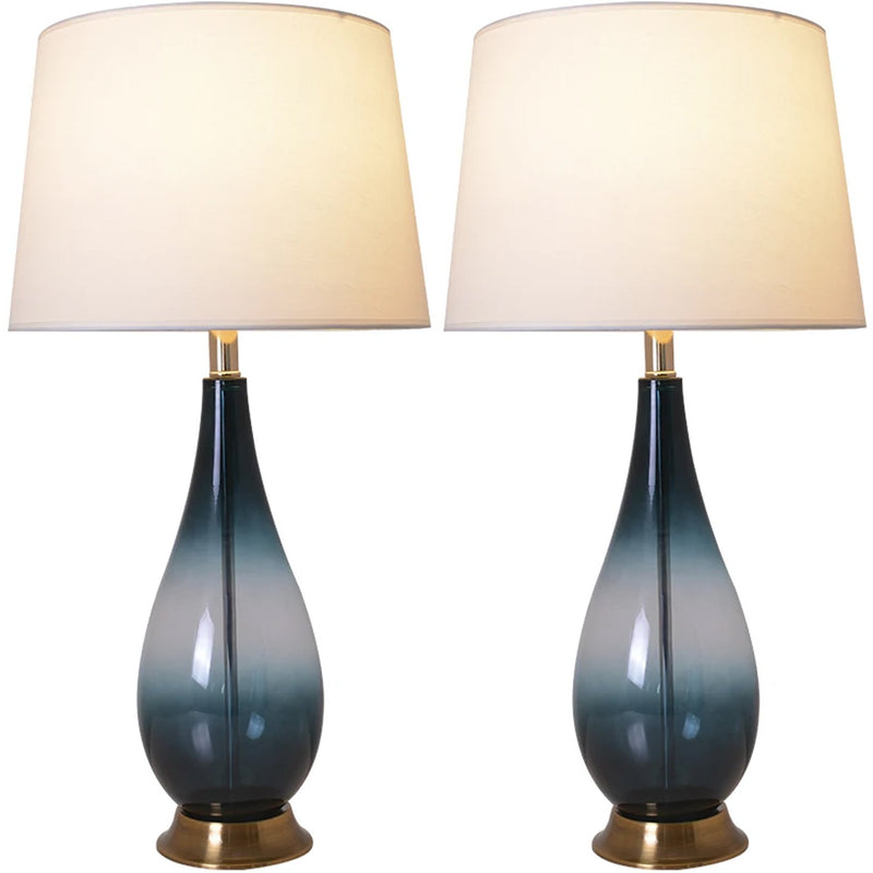 "Carro Home Tulip Ombre Droplet Glass Table Lamp 28"" - Deep Green Ombre/White (Set of 2)"