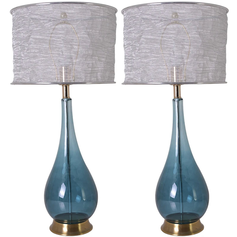 "Carro Home Tulip Big Translucent Blue Ombre Glass Table Lamp 28"" - Blue Ombre/Silver Yarn Shade (Set of 2)"