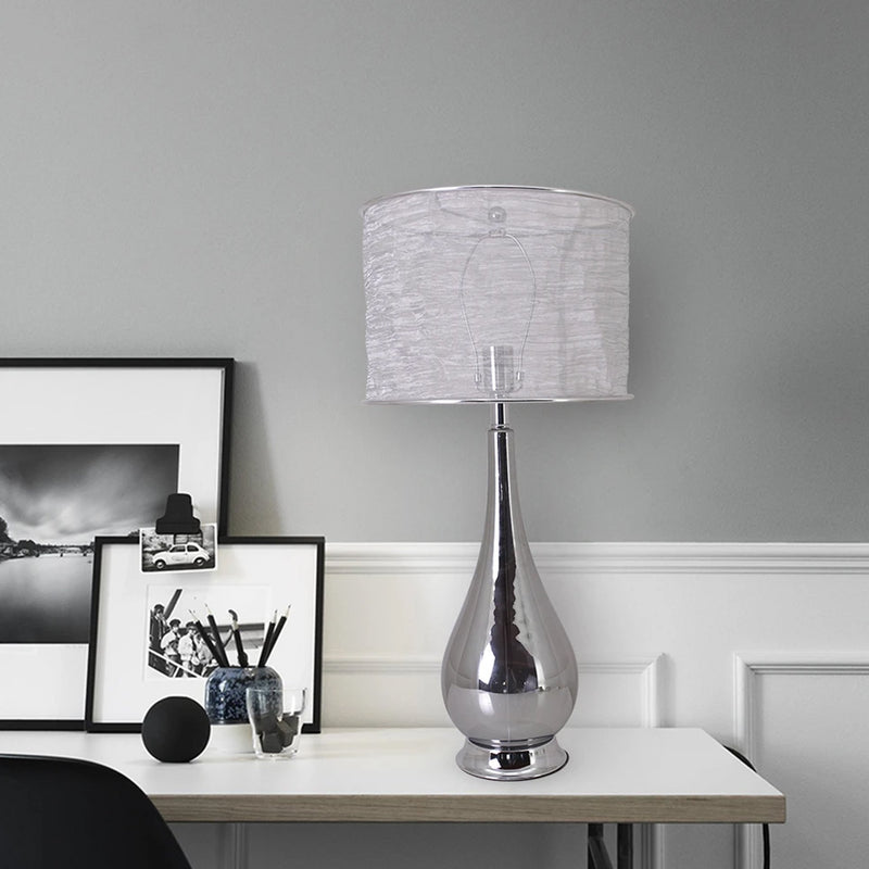 "Carro Home Tulip Big Translucent Chrome Gray Ombre Glass Table Lamp 30"" - Chrome Gray Ombre/Silver Yarn Shade (Set of 2)"