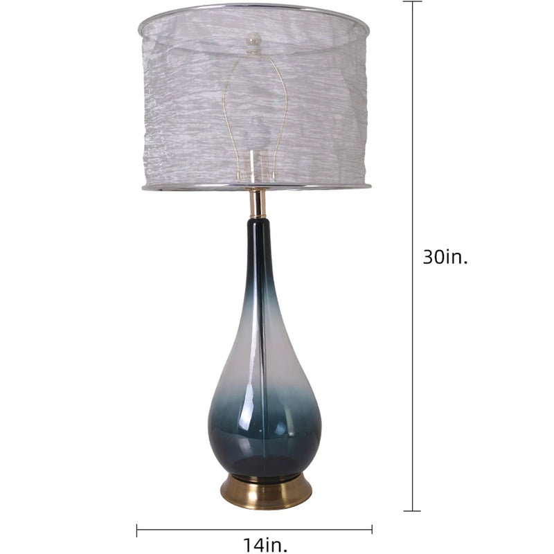"Carro Home Tulip Big Translucent Dark Green Ombre Glass Table Lamp 30"" - Dark Green Ombre/Silver Yarn Shade (Set of 2)"