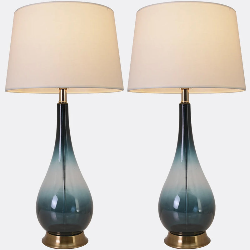 "Carro Home Tulip Big Translucent Ombre Glass Table Lamp 30"" - Forest Green Ombre/White (Set of 2)"