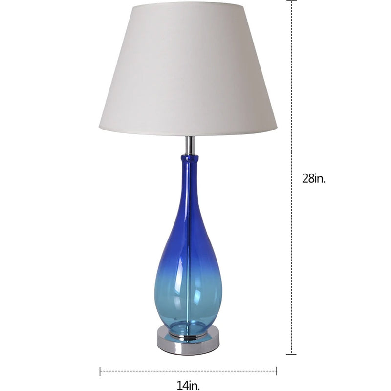 "Carro Home Tulip Blue Ombre Droplet Glass Table Lamp 28"" - Blue Ombre/Creme (Set of 2)"