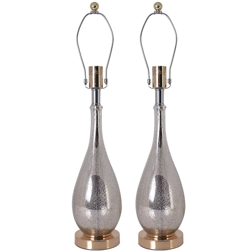 "Carro Home Tulip Little Mercury Droplet Glass Table Lamp 28"" - Gold Mercury/Creme (Set of 2)"