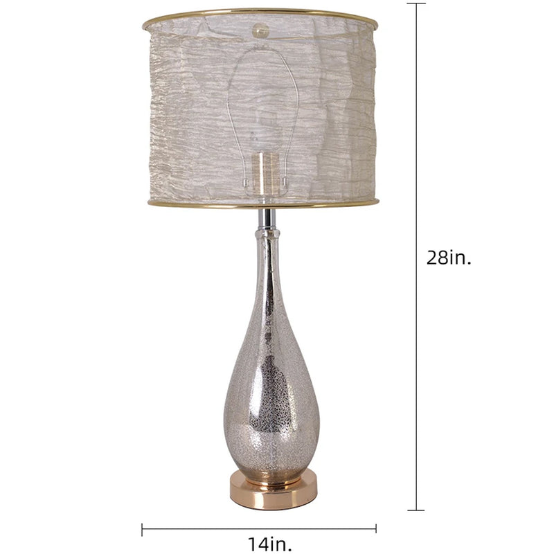 "Tulip Little Mercury Droplet Glass Table Lamp 28"" - Gold Mercury/Golden Yarn Shade (Set of 2)"