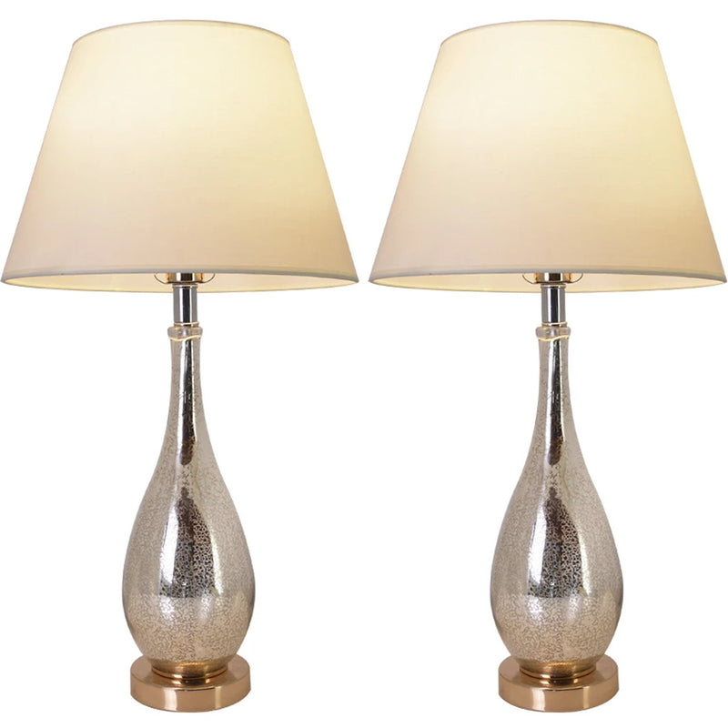 "Carro Home Tulip Gold Mercury Droplet Glass Table Lamp 28"" - Gold Mercury/Creme (Set of 2)"