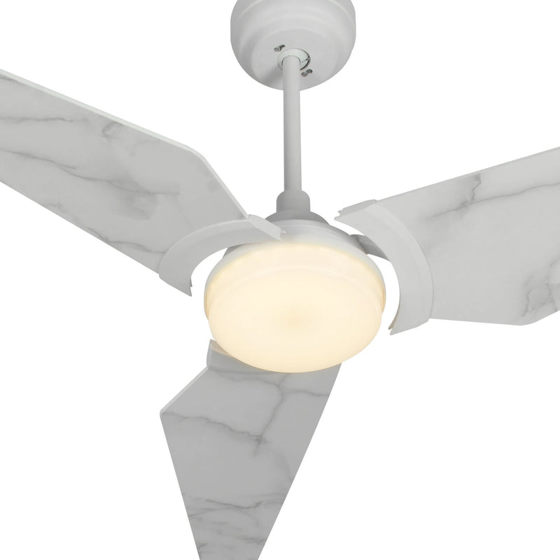 "Carro Home Trailblazer 56"" 3-Blade Smart Ceiling Fam with LED Light Kit & Remote-White/Marble Pattern fan blades"